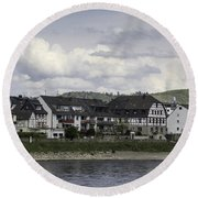 Village Of Spay Germany And Marksburg Castle Round Beach Towel