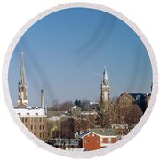 Village Of Spires Round Beach Towel