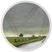 Village Road In The Twilight  Round Beach Towel