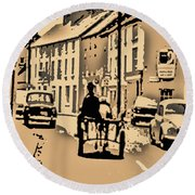 Village Scene Ireland Round Beach Towel