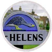 Village Sign - St Helens Round Beach Towel
