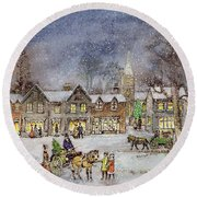 Village Street In The Snow Round Beach Towel by Stanley Cooke