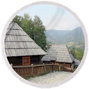 Village With Wooden Cabin Log On Mountain Round Beach Towel