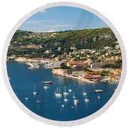 Villefranche-sur-mer And Cap De Nice On French Riviera Round Beach Towel