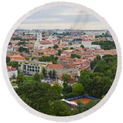 Vilnius Panorama From The Hill Of Three Crosses Round Beach Towel
