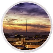 Vilnius Tv Tower Round Beach Towel