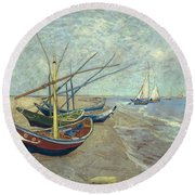 Vincent Van Gogh  Fishing Boats On The Beach At Les Saintes Maries De La Mer Round Beach Towel