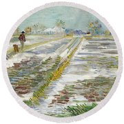 Vincent Van Gogh, Landscape With Snow Round Beach Towel