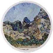 Vincent Van Gogh  Mountains At Saint Remy Round Beach Towel