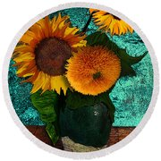Vincent's Sunflowers 2 Round Beach Towel
