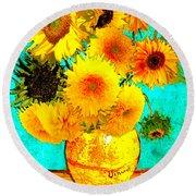 Vincent's Sunflowers 4 Round Beach Towel