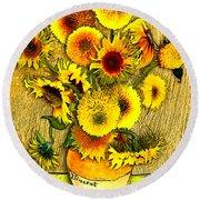 Vincent's Sunflowers Round Beach Towel