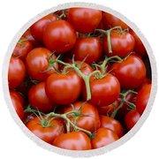 Vine Ripe Tomatos Round Beach Towel by John Trax