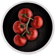 Vine Ripened Tomatoes. Round Beach Towel