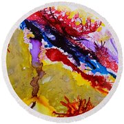 Vines And Glow Abstract Round Beach Towel
