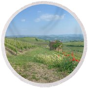Vineyard In Italy Round Beach Towel