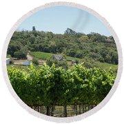 Vineyard In Sebastopol, Sonoma, California Round Beach Towel
