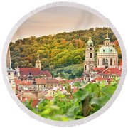 Vineyard Of Prague Round Beach Towel