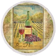 Vineyard Pinot Noir Grapes N Wine - Batik Style Round Beach Towel