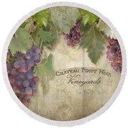 Vineyard Series - Chateau Pinot Noir Vineyards Sign Round Beach Towel