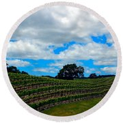 Vineyards In Paso Robles Round Beach Towel
