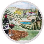 Vineyards Of Tuscany  Round Beach Towel