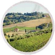 Vineyards With Stone House, Tuscany, Italy Round Beach Towel