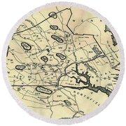 Vintage 1692 Map Of Salem Massachusetts - 1866 Round Beach Towel