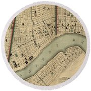 Vintage 1840s Map Of New Orleans Round Beach Towel