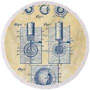 Vintage 1902 Golf Ball Patent Artwork Round Beach Towel by Nikki Marie Smith