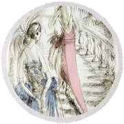 Vintage 1920s Fashion Plate  Evening Dresses Round Beach Towel