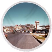 Vintage 1950s View Of Congress Avenue Looking North From South Congress To The Capitol Round Beach Towel