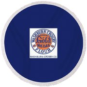 Vintage Gold Medal Flour Ad Round Beach Towel