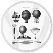 Vintage Aeronautics - Early Balloon Designs Round Beach Towel