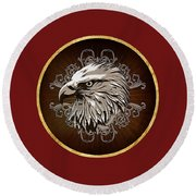 Vintage American Bald Eagle Round Beach Towel