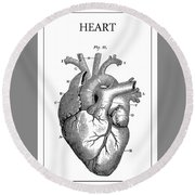 Vintage Anatomical Heart Round Beach Towel