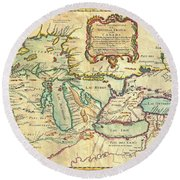 Vintage Antique Map Of The Great Lakes Round Beach Towel