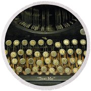 Vintage Antique Typewriter - Text Me - Antique Typewriter Keys Print Black And Gold Round Beach Towel