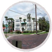Vintage Florida Apt Bldg Round Beach Towel