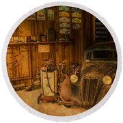 Vintage Auto Repair Garage With Truck And Signs Round Beach Towel