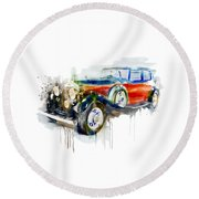 Vintage Automobile Round Beach Towel
