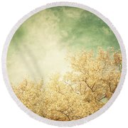 Vintage Autumn Round Beach Towel