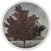 Vintage Autumn Moment Round Beach Towel