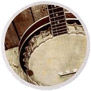 Vintage Banjo Barn Dance Round Beach Towel