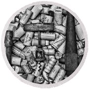 Vintage Barrel Taps And Cork Screw Black And White Round Beach Towel