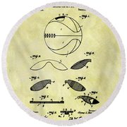 Vintage Basketball Patent Round Beach Towel