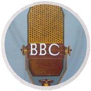 Vintage Bbc Mic Round Beach Towel