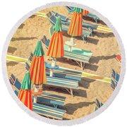 Vintage Beach Round Beach Towel