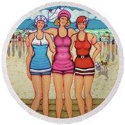 Vintage Beach Scene - Holiday At The Seashore Round Beach Towel