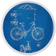 Vintage Bicycle Parasol Patent Artwork 1896 Round Beach Towel by Nikki Marie Smith